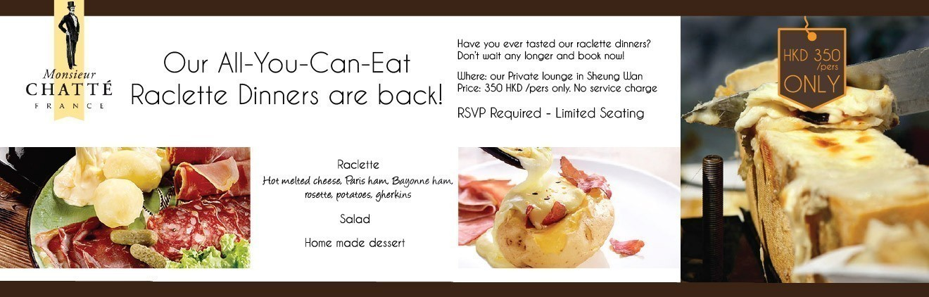 All you can eat Raclette Dinner-From 6.30pm to 9.30pm