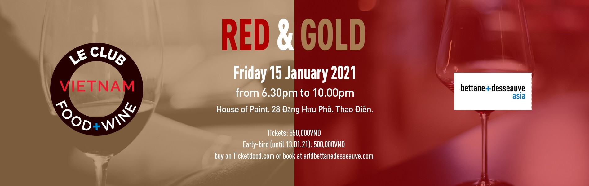 Le Club Food & Wine - Red & Gold. 15 January 2021
